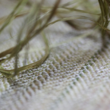 カラムシの繊維と織